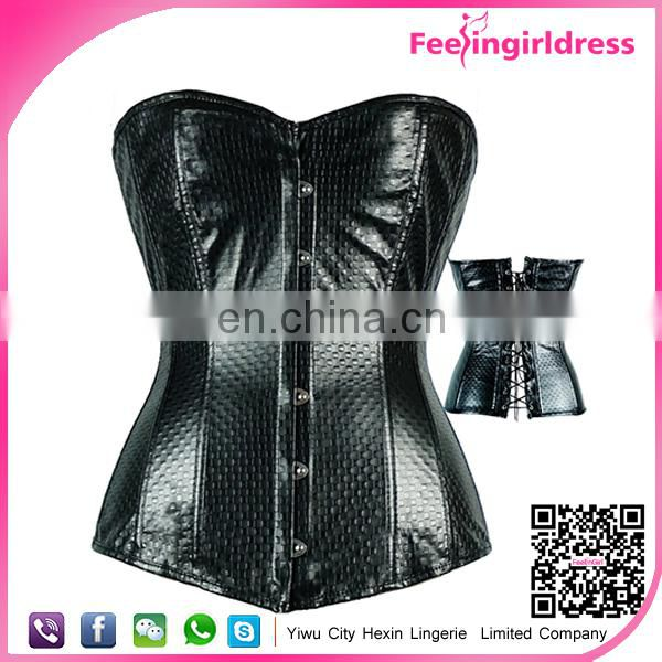 Wholesale High Quality Women Sexy Erotic Black Leather Corset Hook Eyes