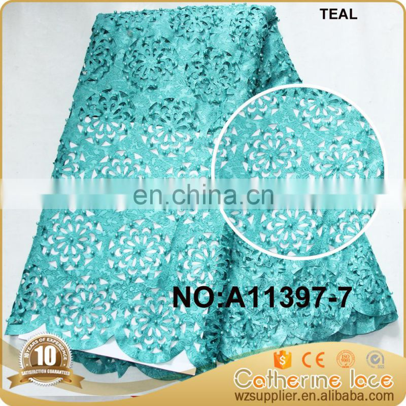 Hot design laser cut lace fabric with beads and stones teal
