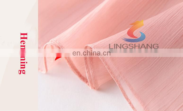 LINGSHANG wholesale high quality crinkle silk solid color chiffon with embroidery Ladies scarf
