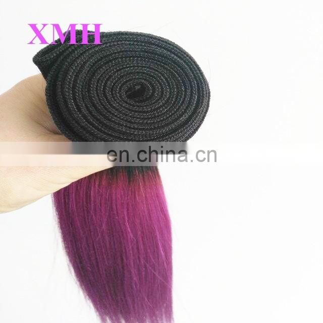 hot selling virgin straight hair bundles two tone ombre remy hair weaving