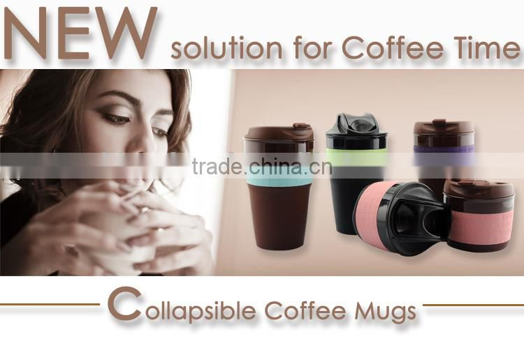 Hot 350ML / 12OZ 2015 Innovative Collapsible travel coffee Mug, Silicone foldable coffee cup BPA free, FDA, LFGB