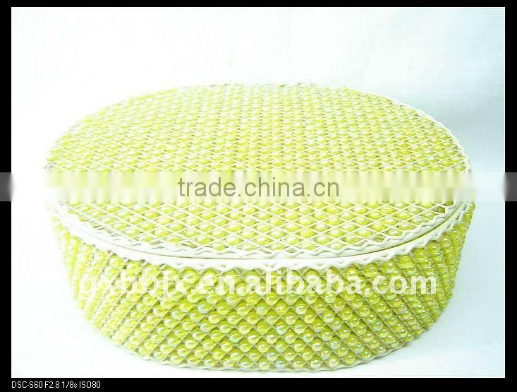 Green pearl wire storage box set with lid