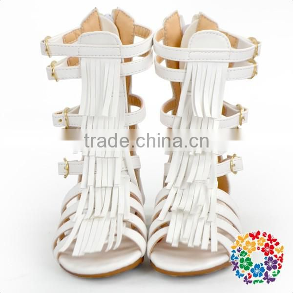 2017 Summer Shoes Leather White Kids Girls Baby Gladiator Sandals