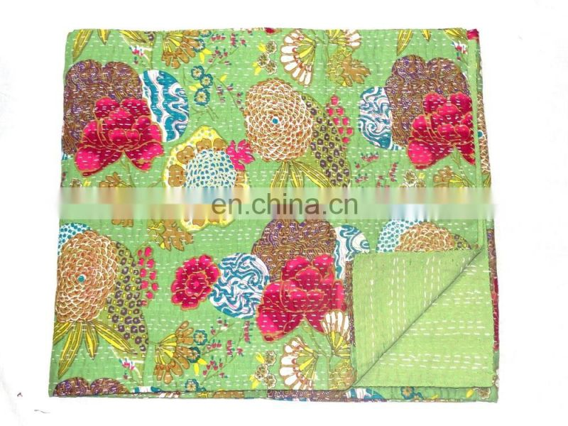 Wholesale Indian Vintage Kantha / Tropicana Floral Kantha Embroidery Bedspread