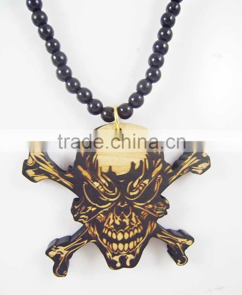 Men's danger skull good Pendants Fashion Wood Hip Hop Rosary Chain Beads Necklaces