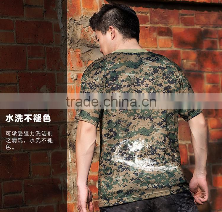 2016 Wholesale Men Camouflage dryfit breathable T-shirt Men Army Tactical Combat T Shirt Military Sport Camo Camp Mens T Shirts