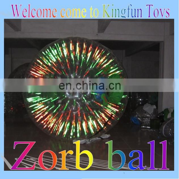 Flash light pvc/tpu body zorb ball for party/event