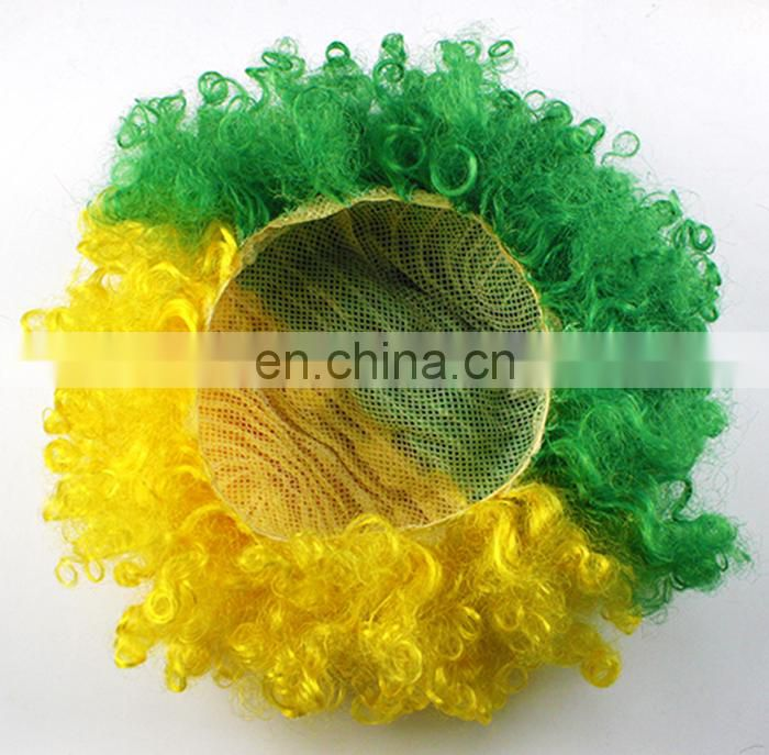 High Quality Yellow Synthetic Afro Party Kids Clown Party Wig