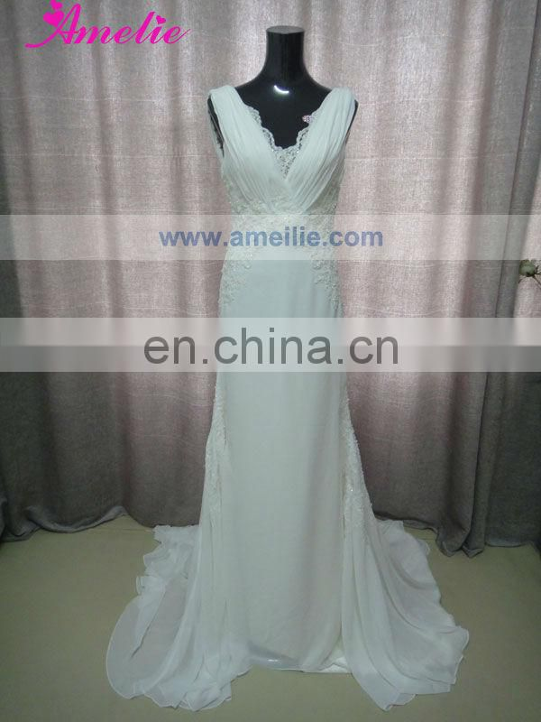 V Neckline Lace Appliqued Wedding Party Dresses