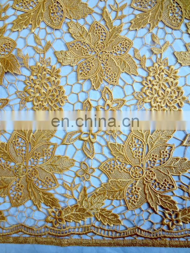 Wholesale chemical lace fabricAfrican wedding party laceGuipre lace yellow color