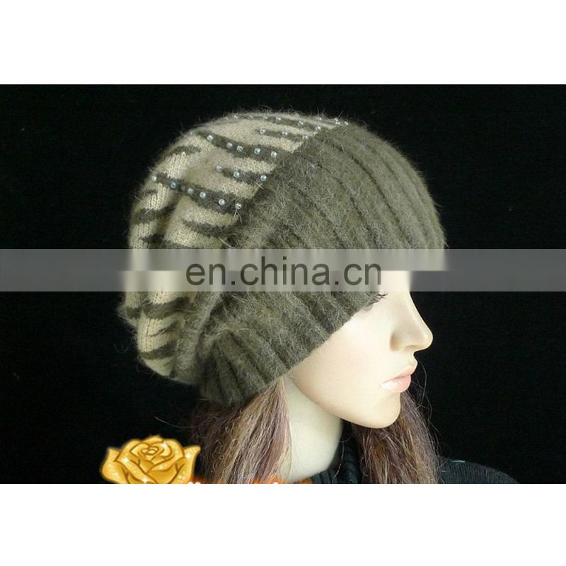 lingshang high quality warm knit hat girls crochet winter beanie women beret hat