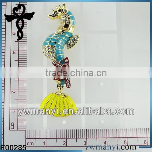 2014 new fashion ladies stud designs k gold enamel rhinestones starfish hippocampus earrings post in zinc alloy jewelry E00235