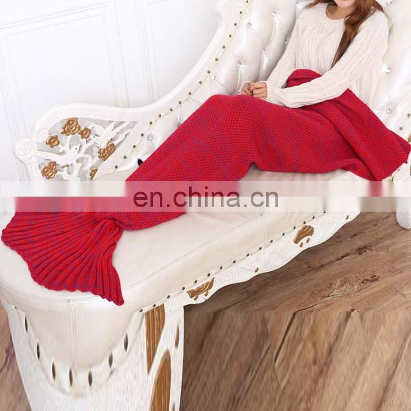 Red acrylic weaven knit mermaid tail blanket soft sofa blanket knit pattern