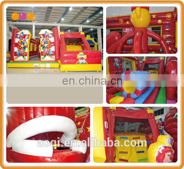 AOQI commercial inflatabale red clown fun city with free EN14960 outdoor inflatable games inflatable fun city for kid