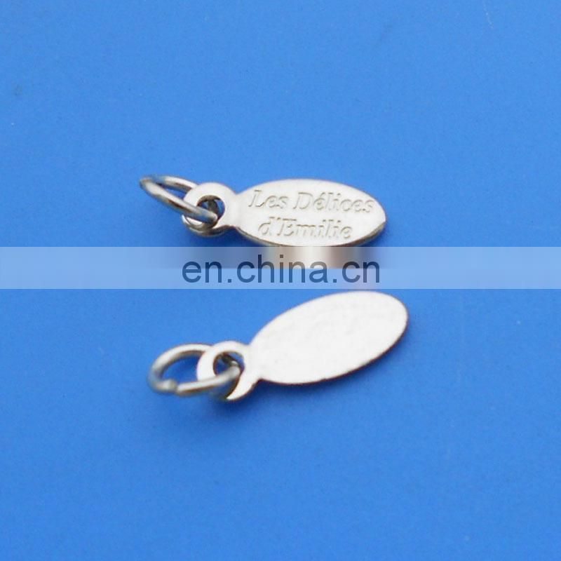 new design two holes silver plating custom engraved logo jewelry tag decoration