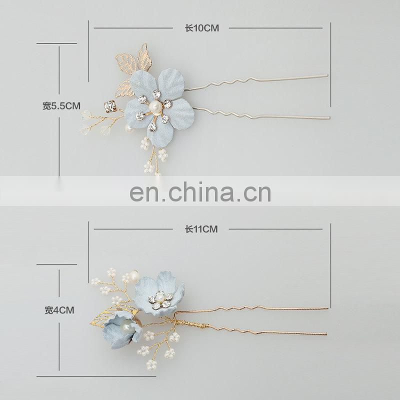Amelie Handmade Blue Flower Freshwater Pearl Small Beads Wedding Hair Comb Bridal Side Hair Pin Wedding Hairgrips Jewellery