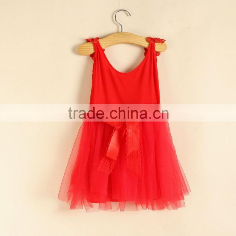 New Style Fly Sleeve Cotton Dress Frock Designs Kids Clothing Summer Dress Boutique Diamond Red Dress