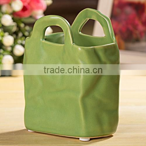 Wholesale ceramic bonsai pot,ceramic flower pot bag(AM-FP08)