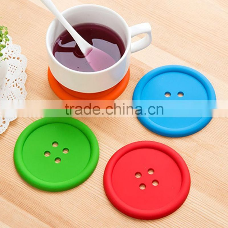 colorful fastener -shaped silicone cup mat/household product