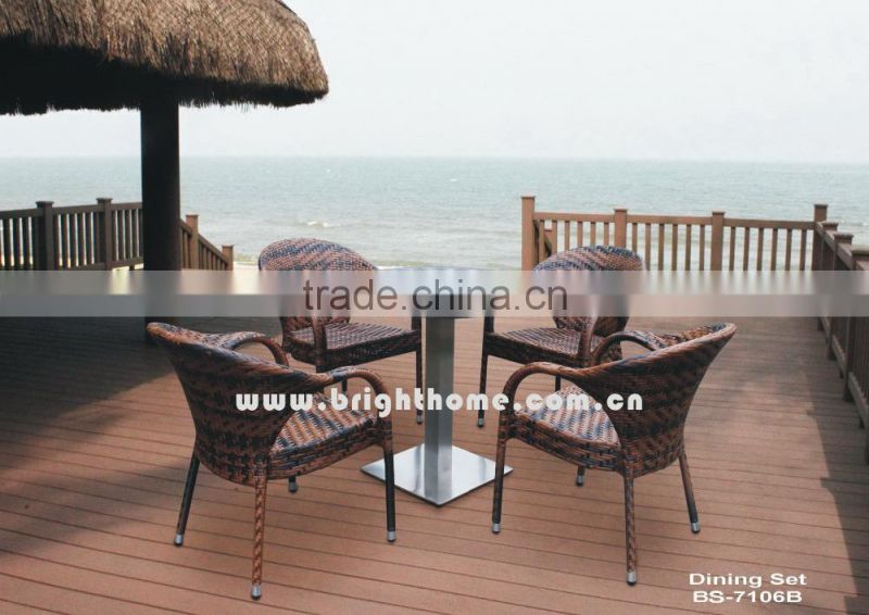 White Outdoor PE Rattan Dining Set for Outdoor with 6 Chairs