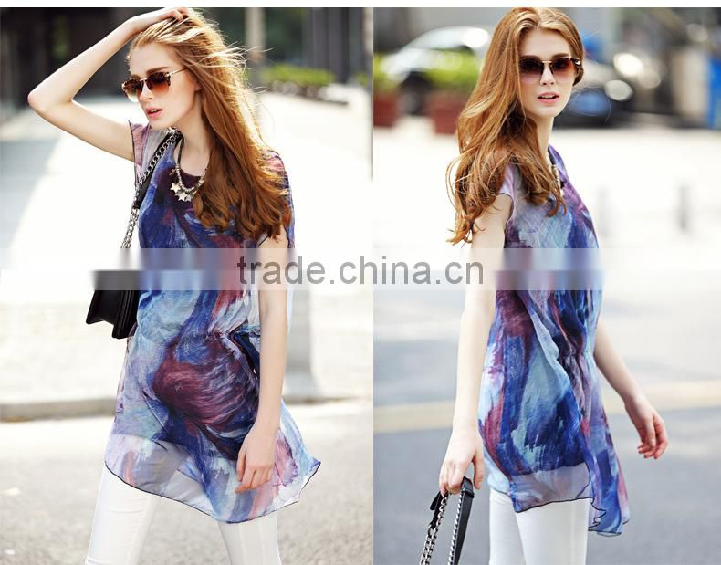 2016 Hotsale Ruffles women Short-sleeve Loose Slim Chiffon long blouse shirts tops with DIY Printing