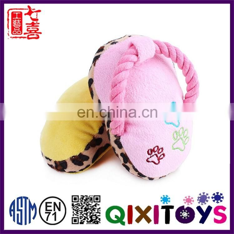 Hot selling interactive chew cotton rope plush slippers pet dog toys