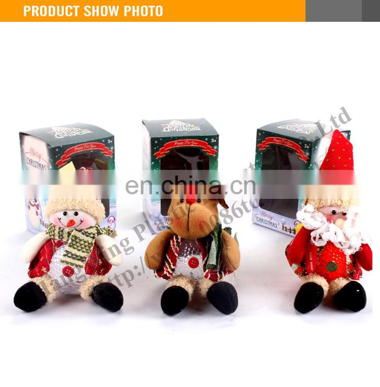 High Quality 8 Inch Sitting Santa/Snowman/Deer With Light Christmas gifts