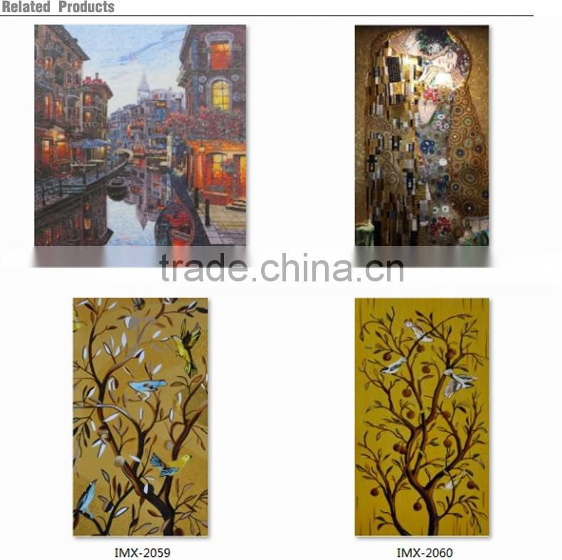 IMARK New Design Oil Painting Pattern Mural Mosaic Tile/Hand Cut Mosaic Art/Glass Mosaic Wall Art Murals For Wall Decoration