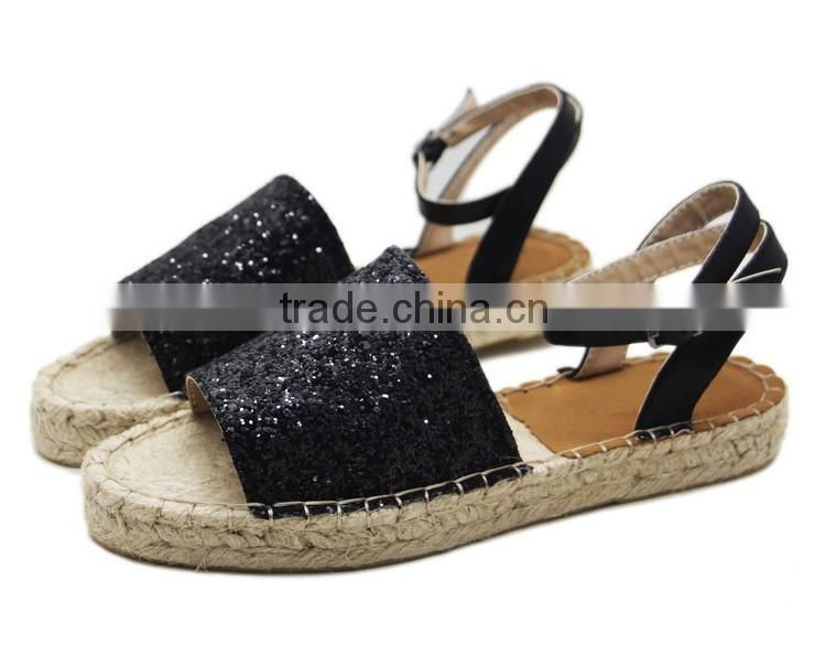 8ac31e72b77 ... Glitter sparkling jute sole peep toe shoes fashion shoe ladies flat loafer  shoes espadrille ...