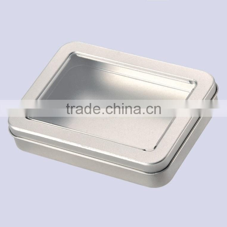China high quality with PVC window lid USB earphone used rectangular metal tin can manufacturing plants