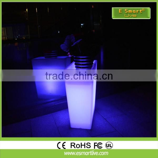 Tall square LED flower pots&planters, glowing flower vase, light up garden pots&planters