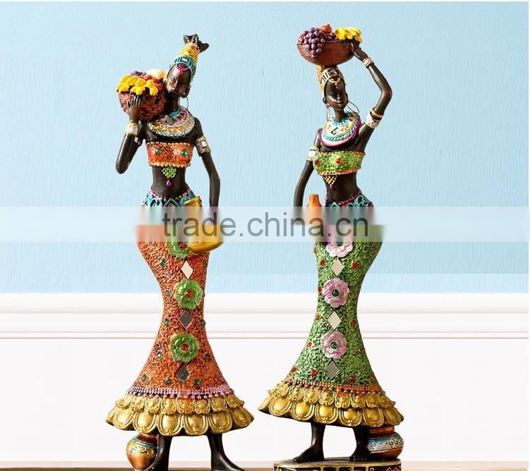 Carving Resin Sexy Black Woman Resin Sculpture For Sale