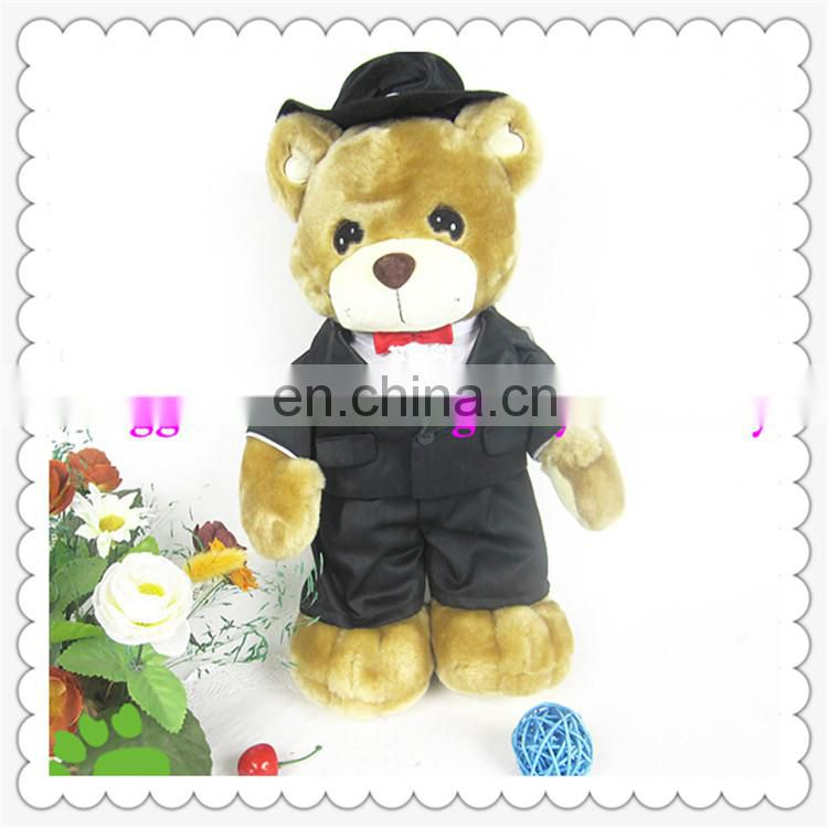 Lovely plush teddy bear toys with cowboy wear /Jeans for boy