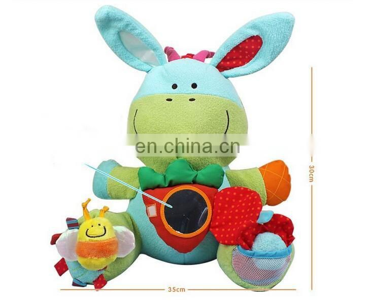 Promotional customized OEM plush cute stuffed sheep baby toys ICTI factory baby education toy