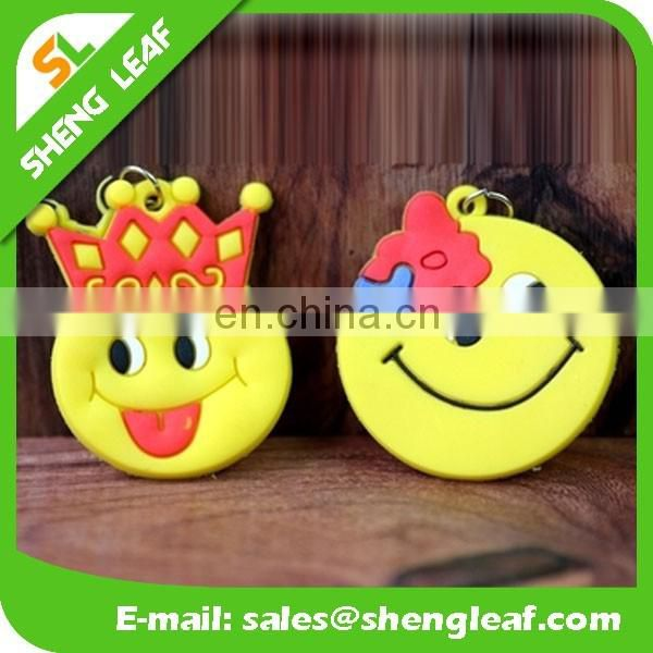 smile face custom soft pvc rubber keychain for promotional