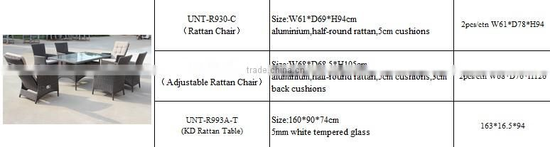 Rattan Dining Sets, One Pc Rattan Table, Six Pcs Rattan Chairs With Cusions And Tempered Table Glass
