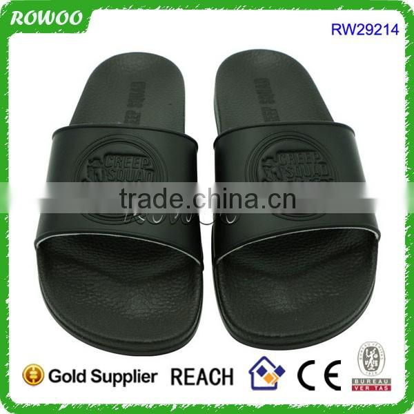 Black PU Sole Brand slide sandal outdoor/bedroom slippers for Men