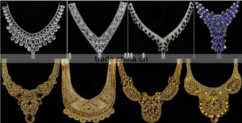 Beautiful crystal design clear rhinestone beaded bridal motif neckline Rhinestone hotfix Transfer applique