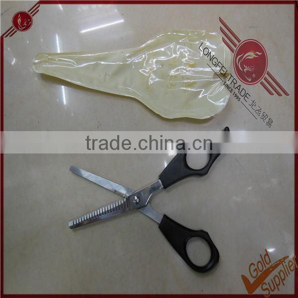 Quality serrated plastic handle ice barber scissors