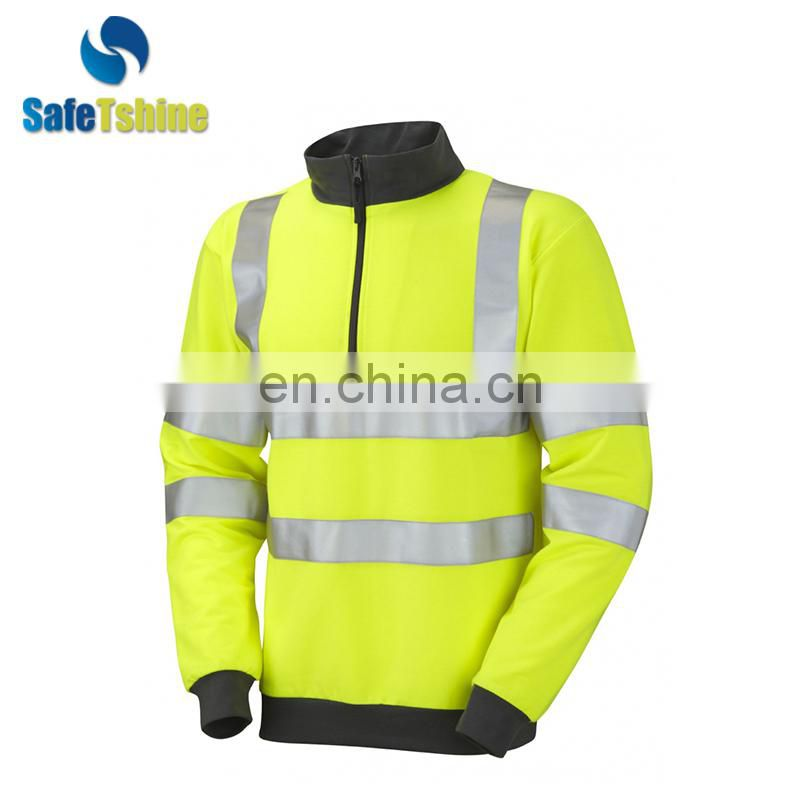 Fluorescent strips handmade high collar sweatshirt