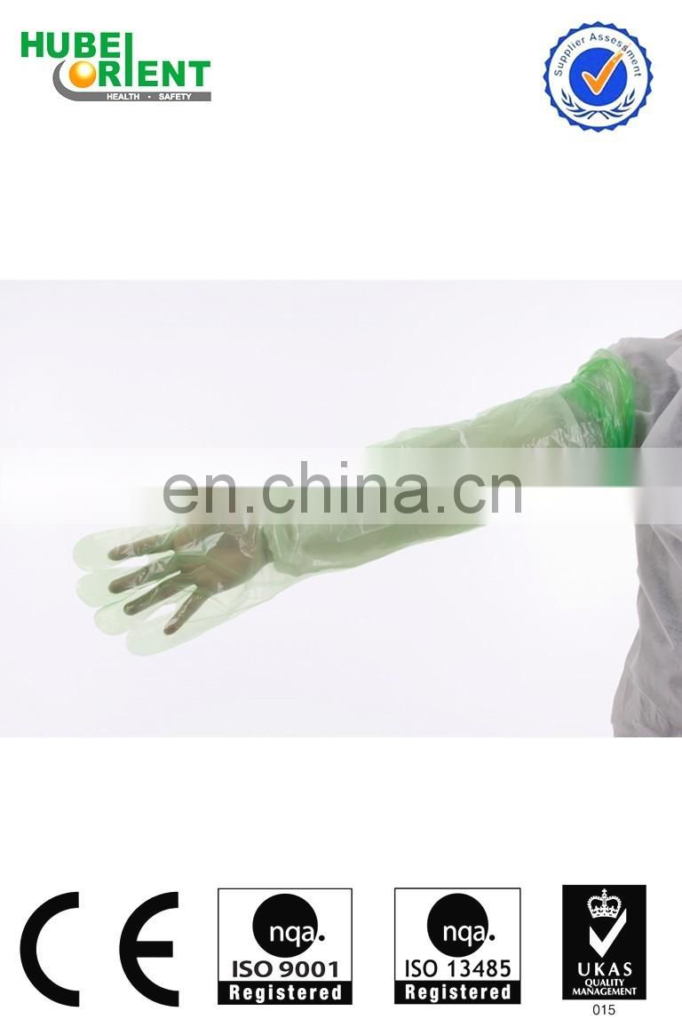 Disposable long sleeve pe glove/food plastic gloves