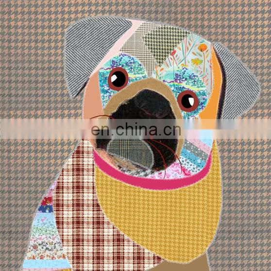 Cute Cartoon Dog Digital Print 100% Cotton Toile Spandex Fabric