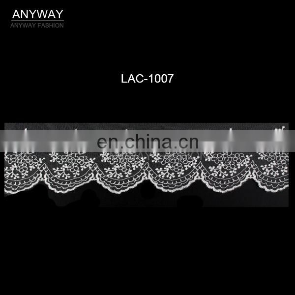 Fashion lace trim in cotton embroidery