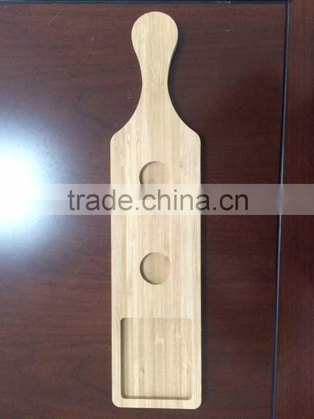 Wooden wine display stand taster flight beer tasting serving paddle cup tray customize hot sale