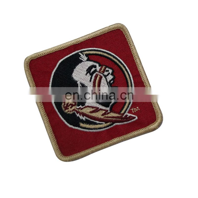 Custom cheap logo cheap iron on woven patches for garment