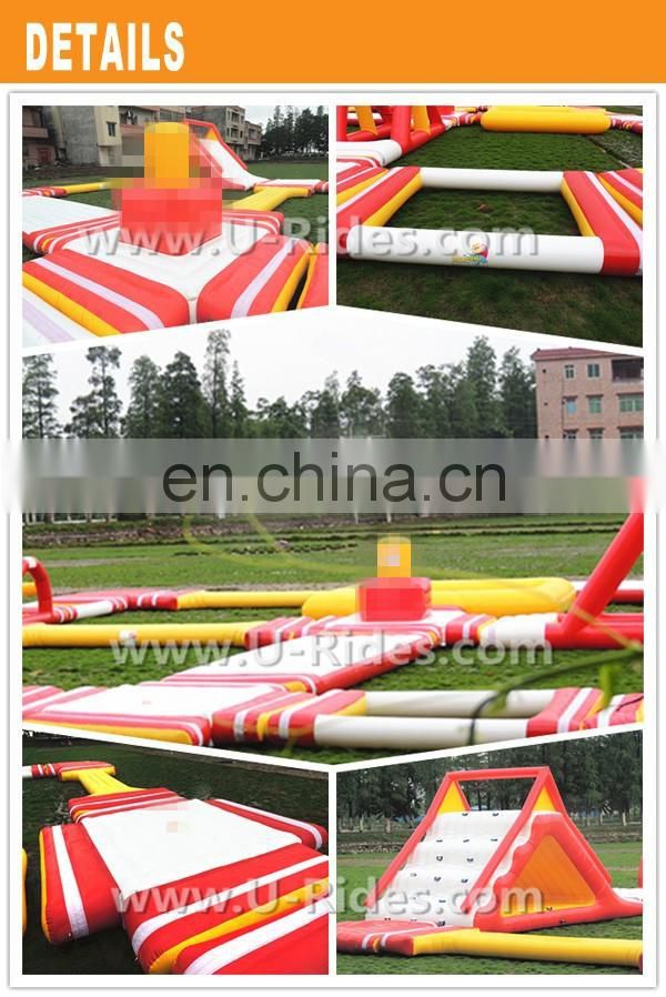 2017 Hot Sale Red Tower Style Inflatable Floating Water Park For Childen And Adult