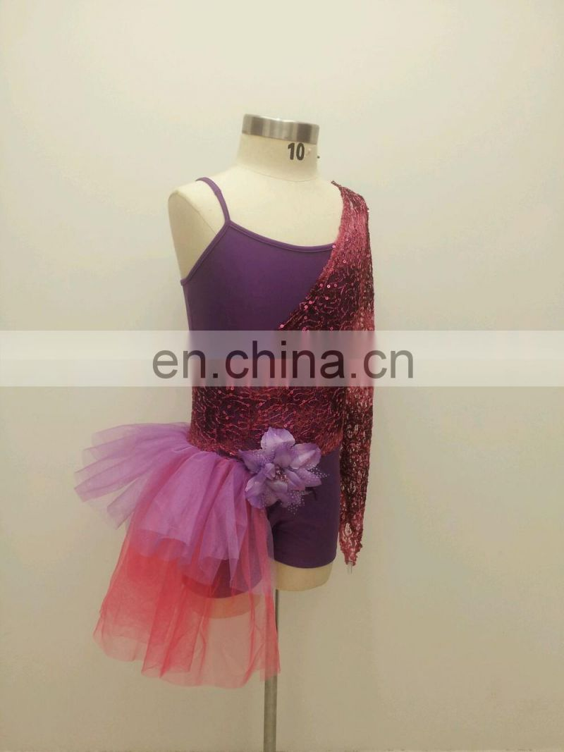 Competition New designed chic shiny children jazz dance costume set with flower accessory ET-030#