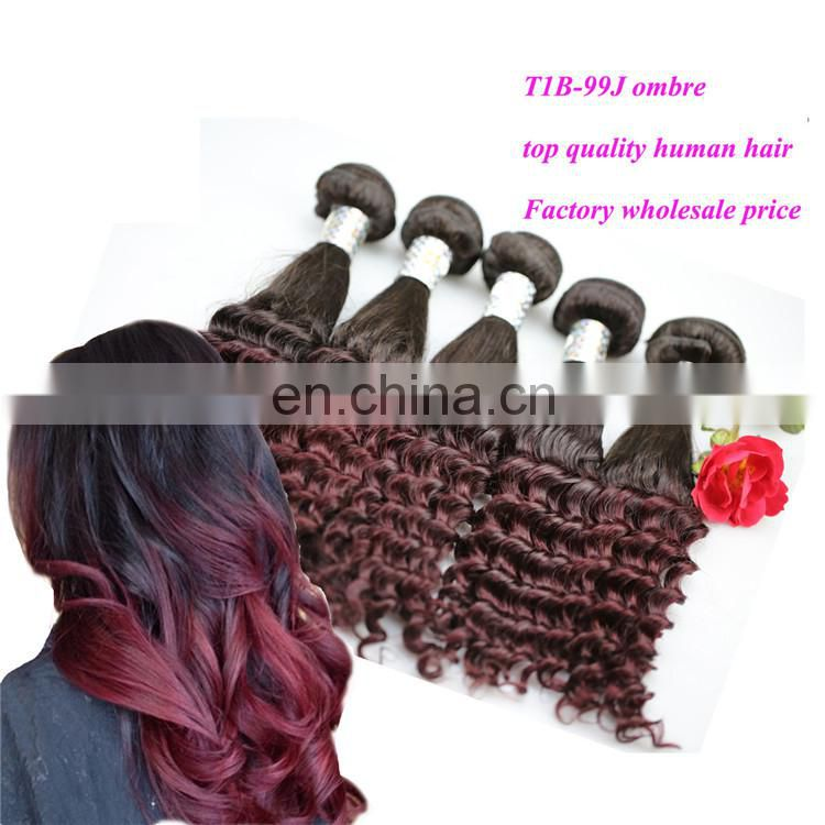 "16"" ombre red burgundy human hair weaves product healthy natural virgin peruvian funmi hair extensions"