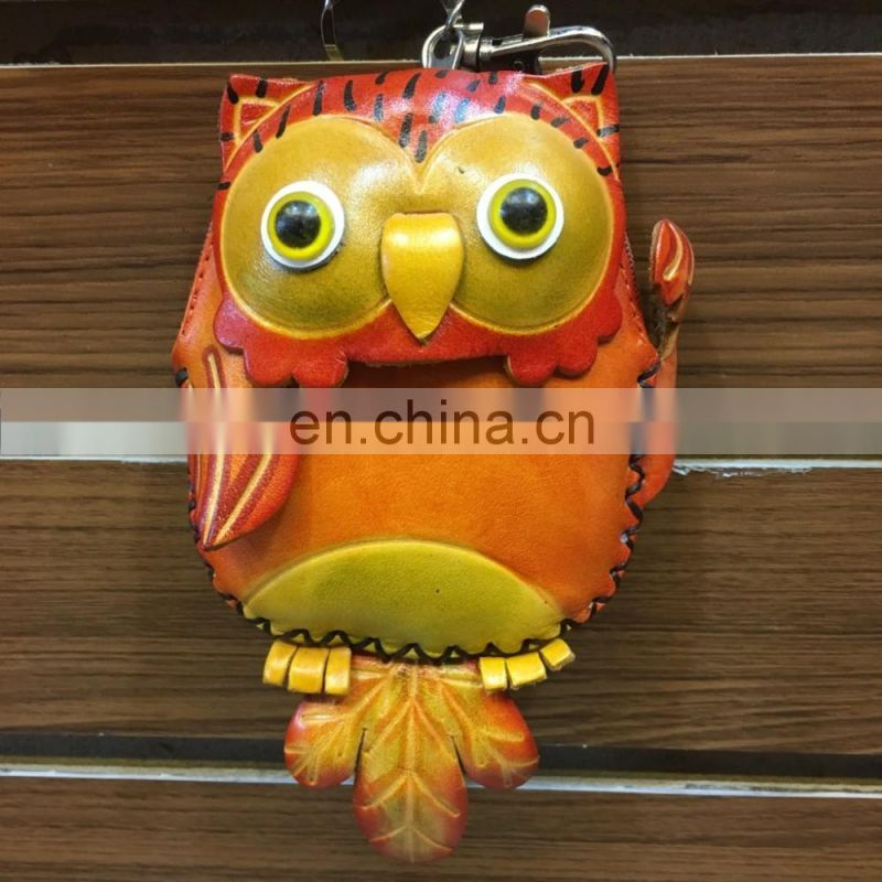 Handmade owl genuine leather coin purse