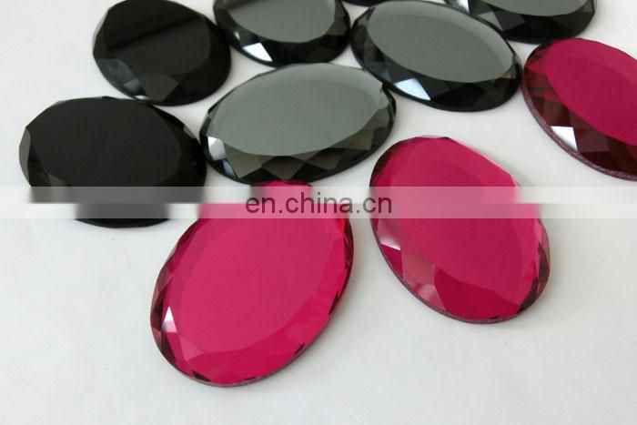 Oval Glass Flat Back Mirror Stone for decoration